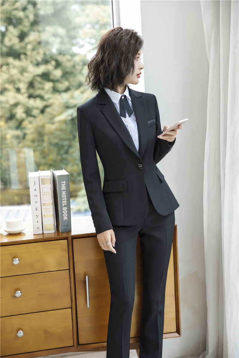 IZICFLY Spring Black Blazer Feminino Female Uniform Business Suits with Trouser Elegant Slim Office Suits for Women Clothing 4XL 57
