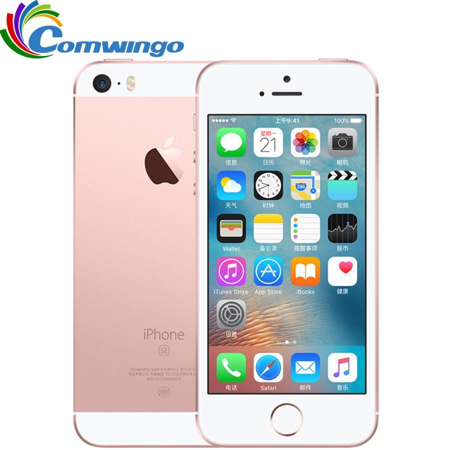 Original desbloqueado apple iphone se telefone celular 4g lte 4.0 ram 2 gb ram 16/64 gb rom a9 duplo-núcleo touch id telefone móvel usado iphone se