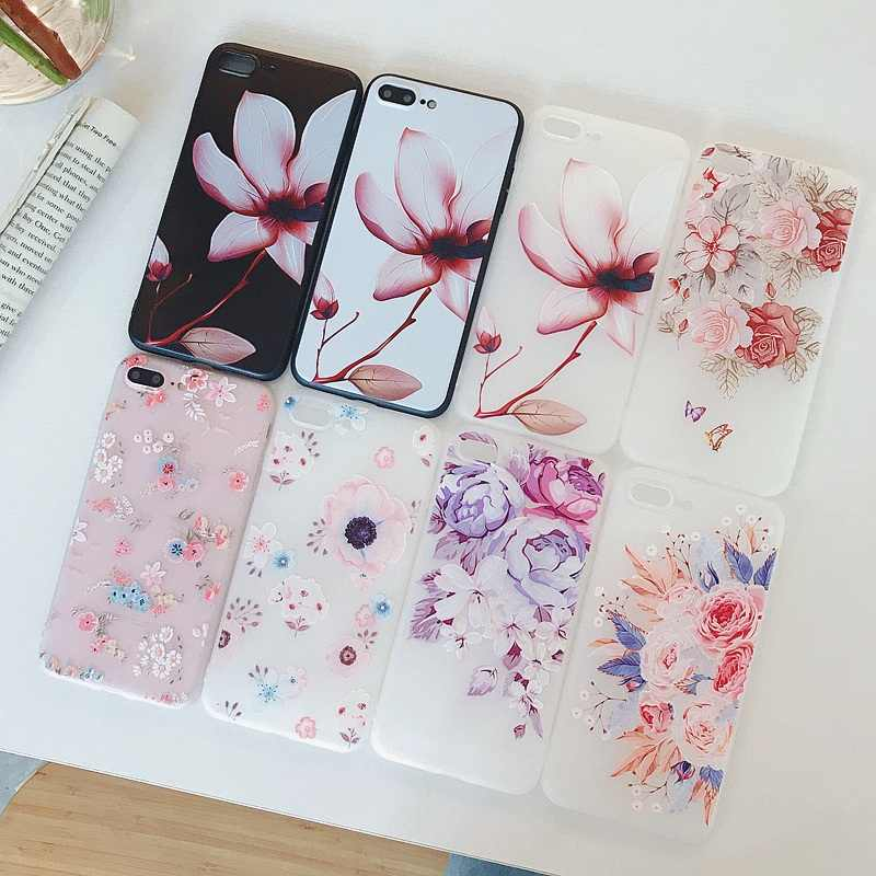 Flowers Phone Case For iPhone X XR XS Max 7 8 Plus 6 6s 5 5s SE Chrysanthemum Floral Soft TPU Silicone Back Cover Case