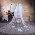 2016 Real Photos Bridal Veil Wedding Accessories White/Ivory Wedding Veil 3*3m Lace vintage Luxury Large flowers Veu De Noiva
