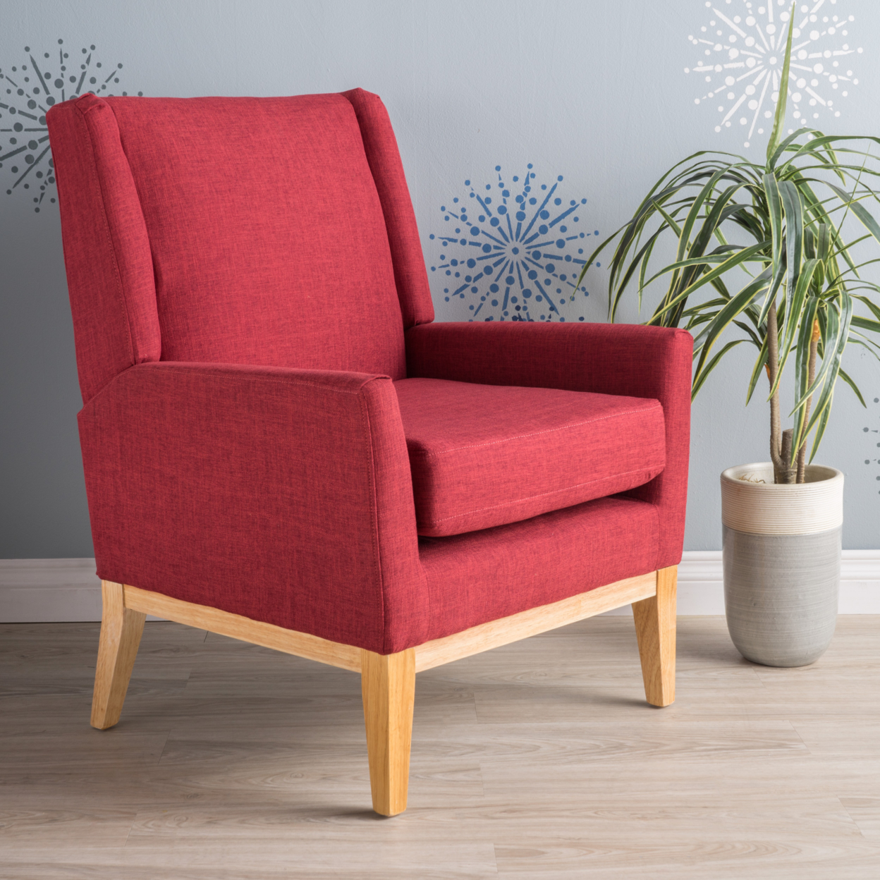 Maeve Red Fabric Accent Chair anso contemporary teal color fabric accent chair