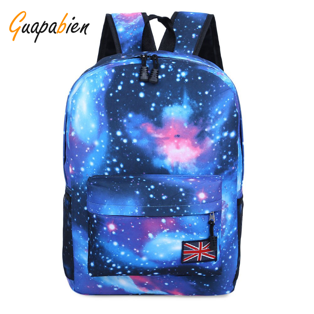 Guapabien Stars Universe Space Print Backpack School Shopping Travel Portable Flag Shoulder Bag Zipper Women Book Back pack fashion unisex stars universe space printing backpack school book backpacks british flag shoulder bag night sky backpacks h308