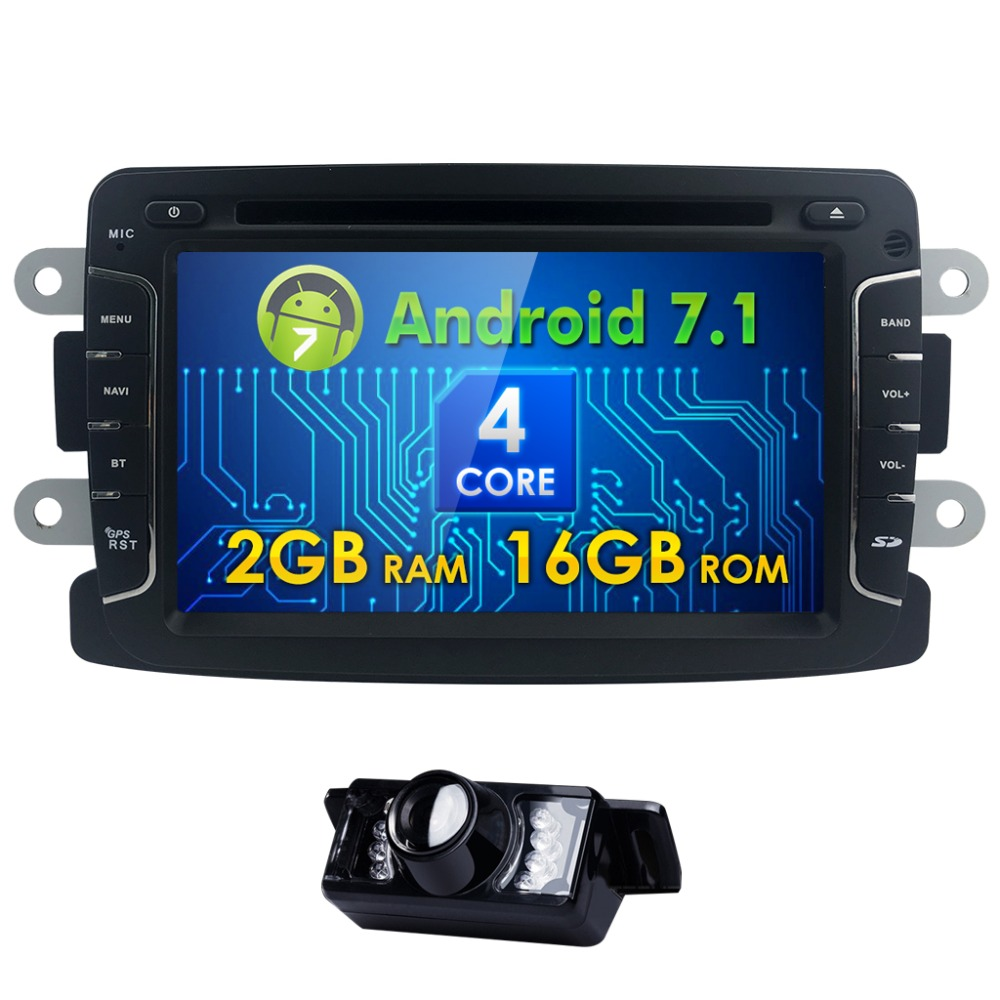Quad Core Pure Android 7.1 GPS Navigator Radio Car Dvd For Dacia Renault Duster Logan Sandero Stereo Central CassetteWifi Player