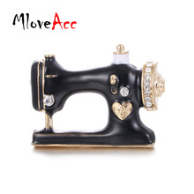 Фотография MloveAcc Women Girls Sewing Machine Brooch Black Enamel Brooches Jewelry Hijab Pin for Collar Suit Scarf Decoration Accessories