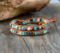 Leather Bracelets for women High End Mix Natural Stones 2 Strands Leather Wrap Bracelets Vintage Weaving Bead Bracelet Handmade