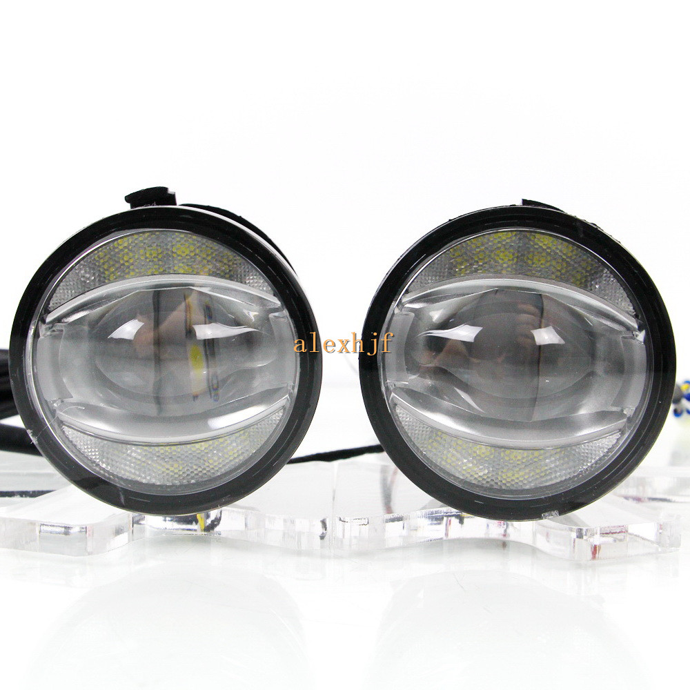 July King 1600LM 24W 6000K LED Light Guide Q5 Lens Fog Lamp +1000LM 14W Day Running Lights DRL Case for Nissan Inifiniti Series