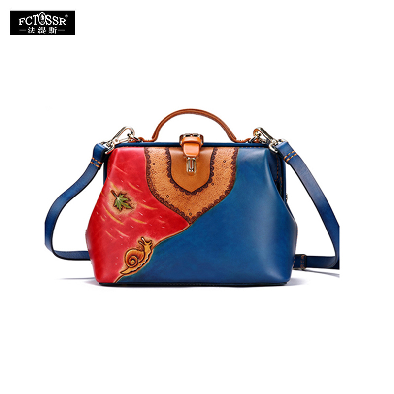 Original Leather Carving Women's Handbag New Single Shoulder Bag Top Layer Cowhide Leather Personality Retro Gold Cross-Body Bag