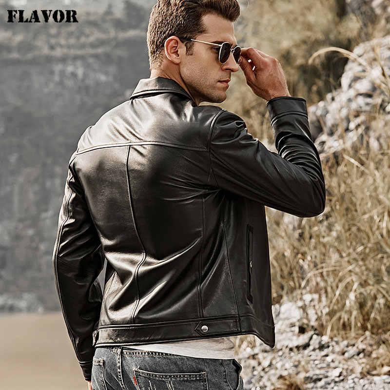 FLAVOR 2018 Men's Real Leather Motorcycle Jacket Men Lambskin Genuine Leather Jacket with Turn-down Collar Black Coat