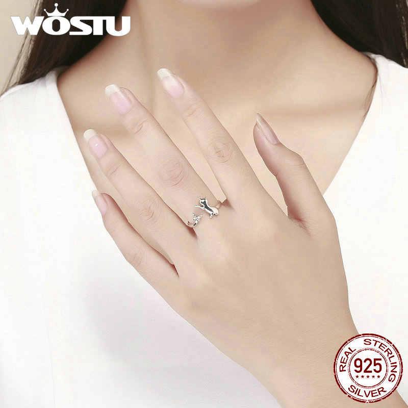 WOSTU Real 925 เงินสเตอร์ลิงน่ารักแมวและผีเสื้อ Finger แหวนผู้หญิงแหวน Anel แฟชั่นเครื่องประดับของขวัญ CQR443