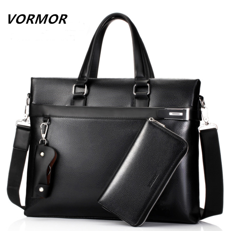 все цены на VORMOR Fashion Men Tote Casual Briefcase Business Shoulder Black Leather High Quality Messenger Bags Laptop Handbag Men's Bag онлайн