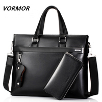 VORMOR Fashion Men Tote Casual Briefcase Business Shoulder Black Leather High Quality Messenger Bags Laptop Handbag