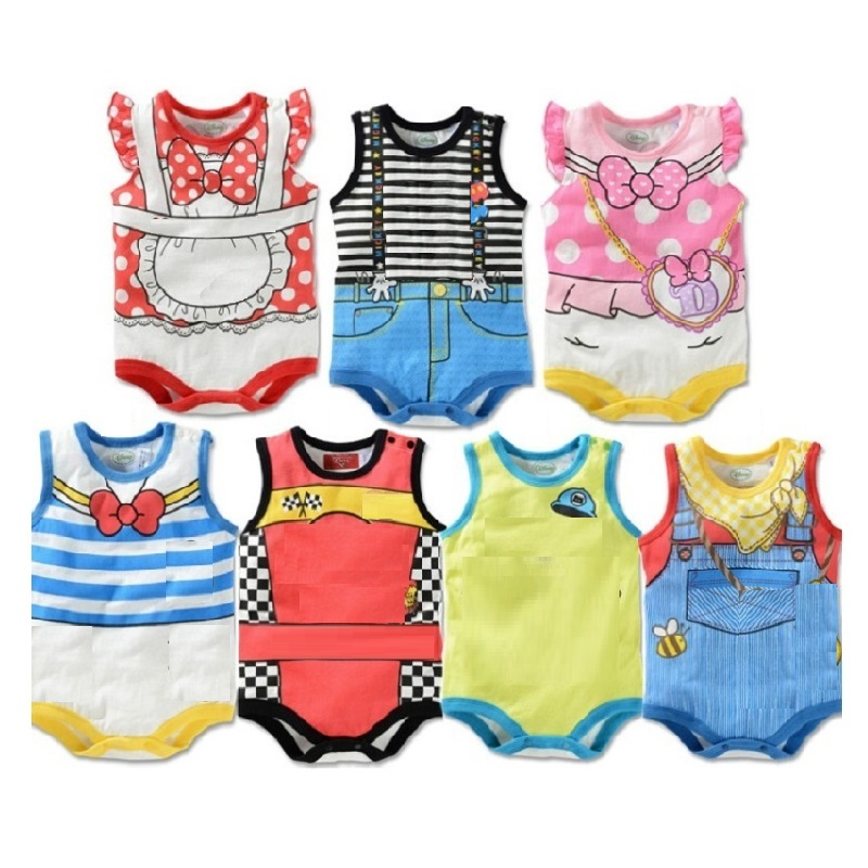 2017 Summer Cartoon Baby Bodysuit Boys Clothes Baby Girl Jumpsuits Newborn Clothes Sleeveless 100% Cotton One-Piece Clothing Top