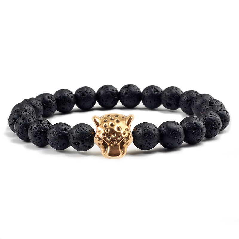 Fashion Gold Panther Head Natural Stone Distance Bracelets Black Volcanic Stone Bracelet For Women Men Charm Jewelry Couple Gift