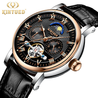 KINYUED Top Luxury Brand Men Watches Skeleton Mechanical Mens Moon Phase Automatic Watch Rose Gold Business