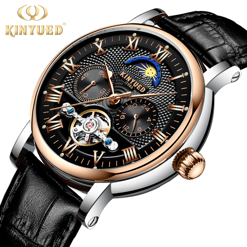 KINYUED Top Luxury Brand Men watches Skeleton Mechanical Mens Moon Phase Automatic Watch Rose Gold Business Style horloges manne kinyued moon phase shanghai movement rose gold case brown genuine leather strap mens watches top brand luxury auotmatic watch
