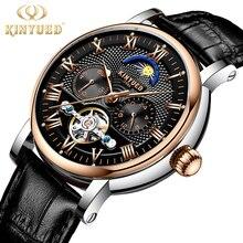 KINYUED Top de Luxo Da Marca Homens relógios Esqueleto Mecânica Mens Fase Da Lua Relógio Automático Rose Gold Estilo Negócios horloges manne