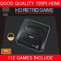 최고 720 인치 당 점 HDMI TV 비디오 게임 콘솔 세가 MEGADRIVE2 MD2 레트로 게임 HDMI 출력 2.4 그램 무선 컨트롤러 112in1 게임
