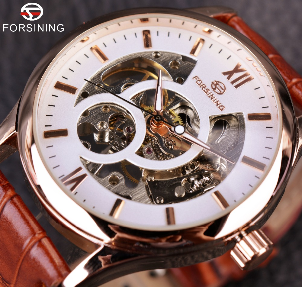 Forsining Rose Gold Design Brown Men Watch Top Brand Luxury Erkek Saat Skeleton Mechanical Watch Male Clock Relogio Montre Homme forsining gold hollow automatic mechanical watches men luxury brand leather strap casual vintage skeleton watch clock relogio