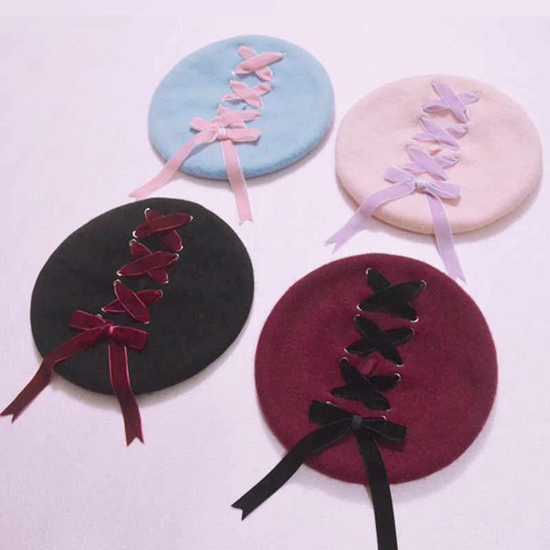 e07bdbe7bf7f8 Women Sweet Cute Berets Female Hats Soft Macaron color Ribbon Woolen Lolita  Beret Vintage Soft Straps