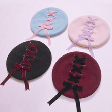 Women Sweet Cute Berets Female Hats Soft Macaron color Ribbon Woolen Lolita