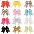 "7"" Girls Large Leather Cheer Bow  Hair Holder Cheerleading Bow With Elastic Band For Kids Hair  Accessories 12Pcs/lot"