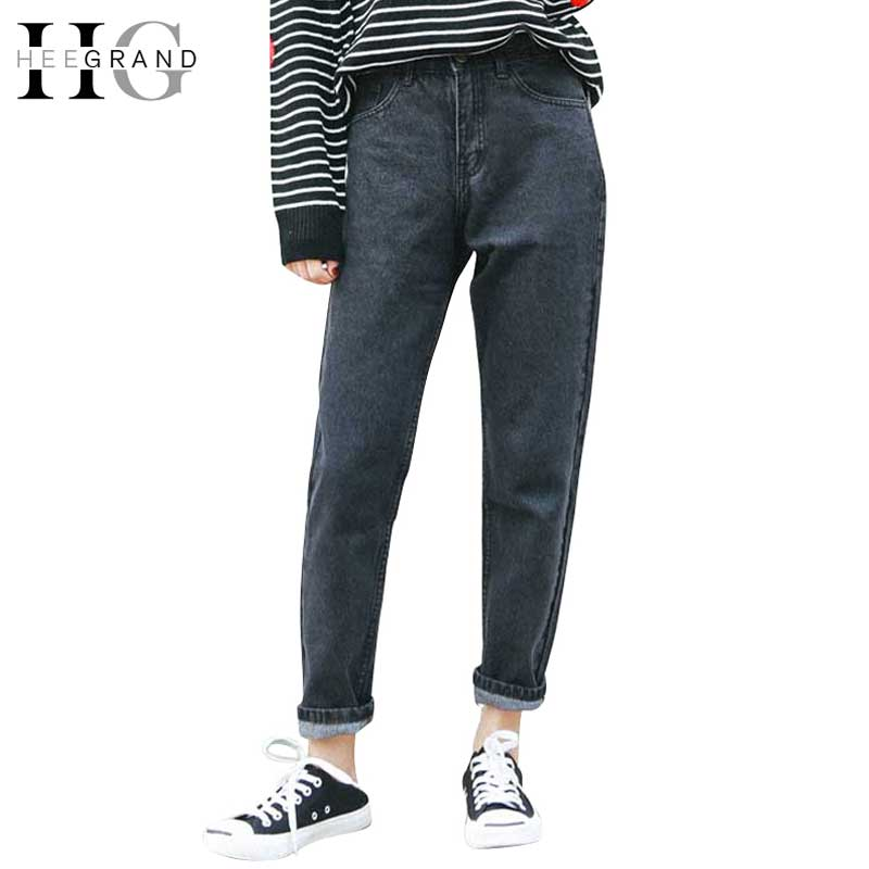 HEE GRAND 2017 Ankle-Length Jeans Women Spring Washed Denim Straight Women Jeans High Waist Jeans Trousers Women Pants WKN481 hee grand 2017 spring summer men jeans full length business style slim fitted straight denim trousers plus size 29 40 mkn960