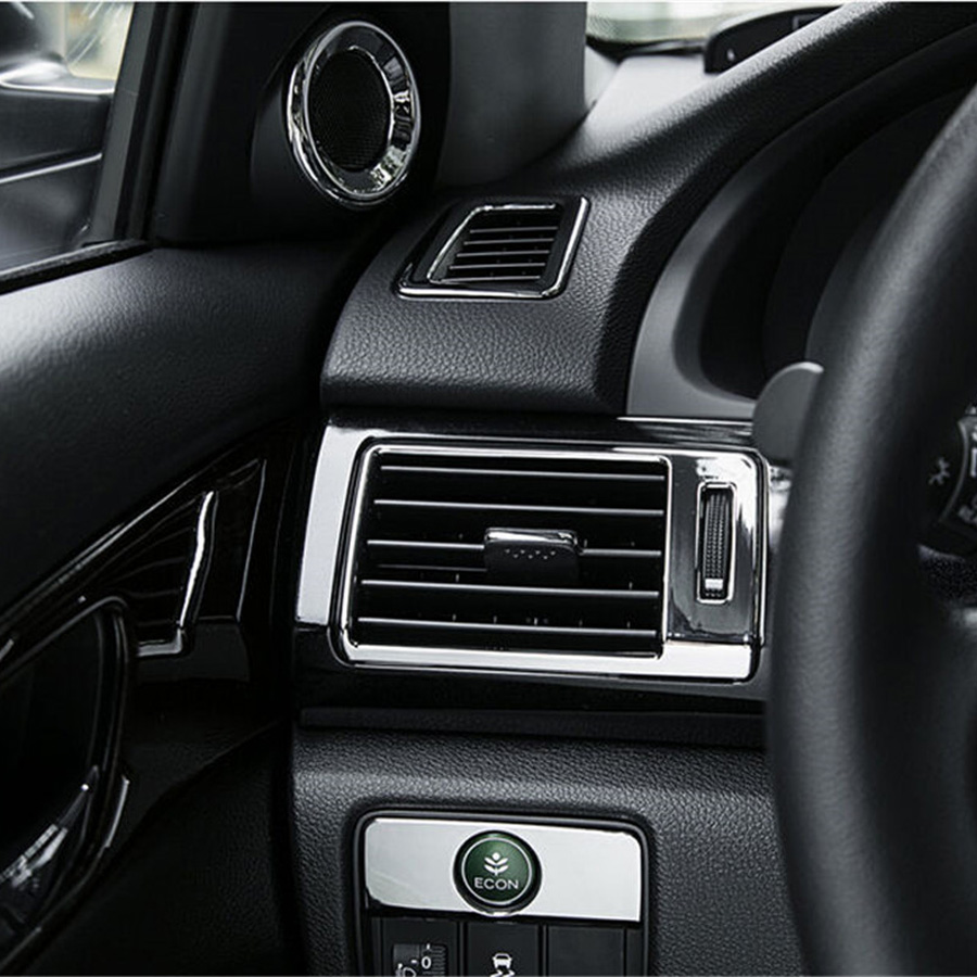 7pcs Interior Decoration Cover Trim ABS Chrome For Honda Accord 9th 2013 2015 Car Air Condition Outlet Speaker Styling