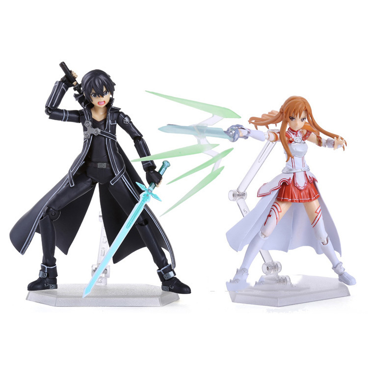 2pcs/lot 15cm Anime Sword Art Online SAO Kirito & Asuna Figure Kirito Kazuto Figma Asuna Figma PVC Action Figures Model Toys nendoroid anime sword art online ii sao asada shino q version pvc action figure collection model toy christmas gifts 10cm