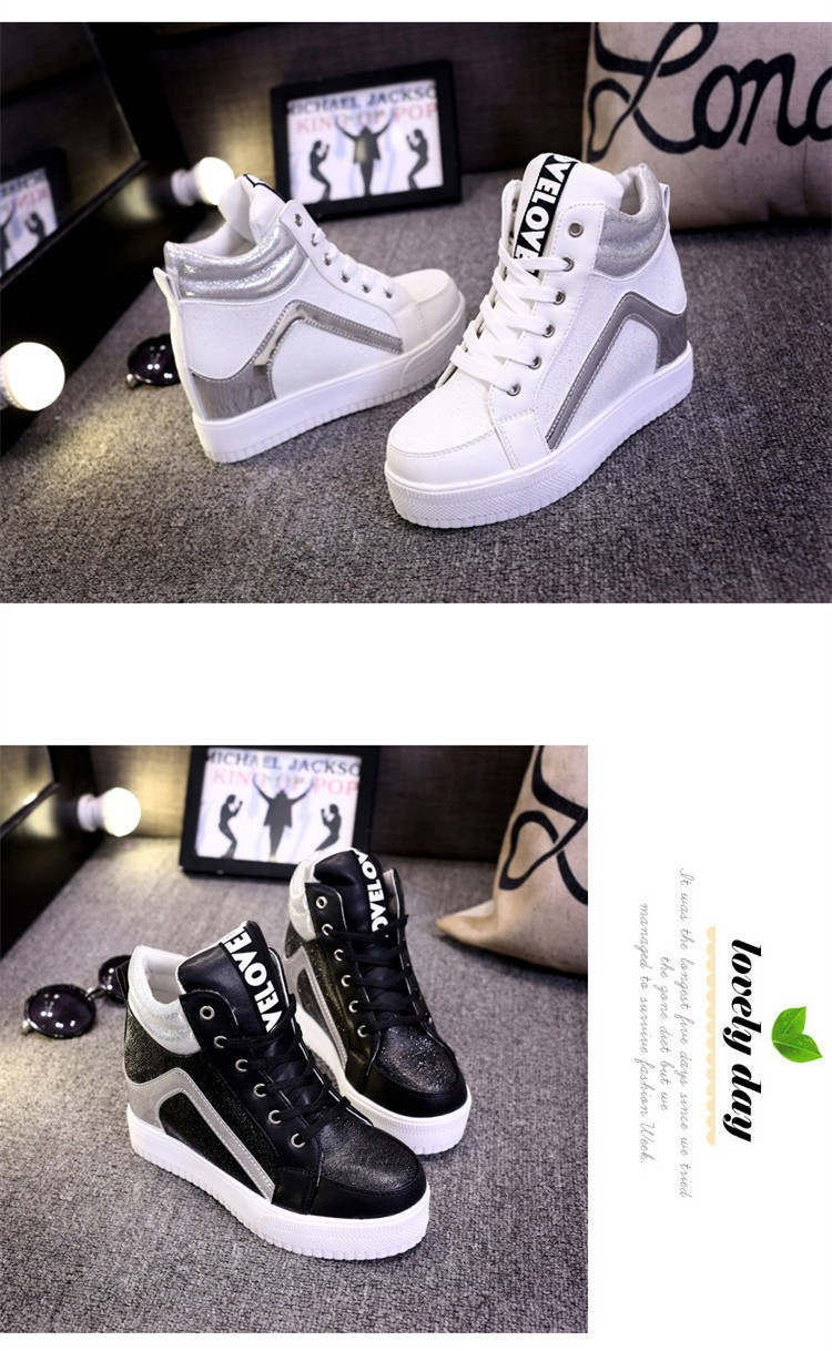 Height Increasing Women Casual Shoes 2015 High Top Mixed Colors Platform Ladies Shoes Breathable Lace Up Autumn Ankle Boots S28 (8)