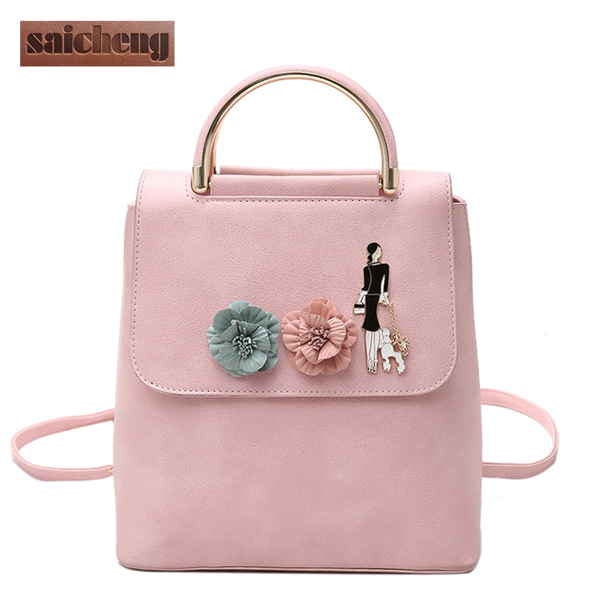 New Fashion Flower Backpack Women School Bag For Teenage Girls Chains Pu Leather Backpacks Women Brand Top Handle Backpack Dog luxury brand backpacks women leather school bag for teenage girls casual top handle backpack fashion mochila escolar female new