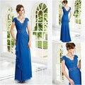 2017 Elegante Mãe Azul dos Vestidos de Noiva Lace Apliques de Cristal Beading Plissado vestidos Formais ocasião vestidos