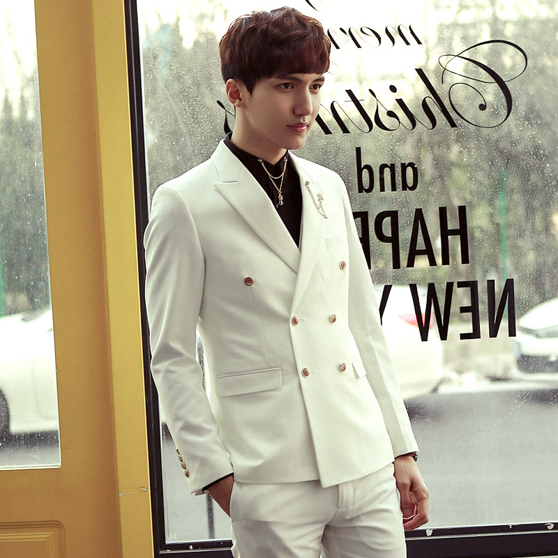 2017 Double Breasted Mens Suits White Tailored Terno Masculino 3piece Blazer With Pants