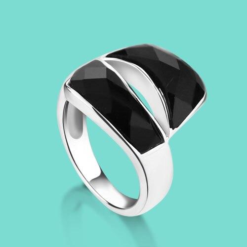 انگشتر نقره 925 استرلینگ حلقه نقره ای مد و شخصیت زن Onyx Mosaic حلقه نقره استرلینگ تزئینی روزانه
