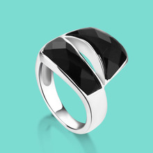 Silver ring 925 sterling silver ring female fashion and personality Onyx Mosaic sterling silver ring daily collocation ornaments