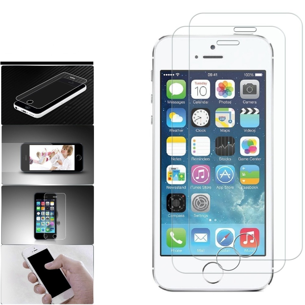 Galleria fotografica 2pcs Top Quality 0.26mm 9H Premium Tempered Glass For iPhone 5S 5 SE 5C Screen Protector Explosion-proof Sklo Anti Shatter Film