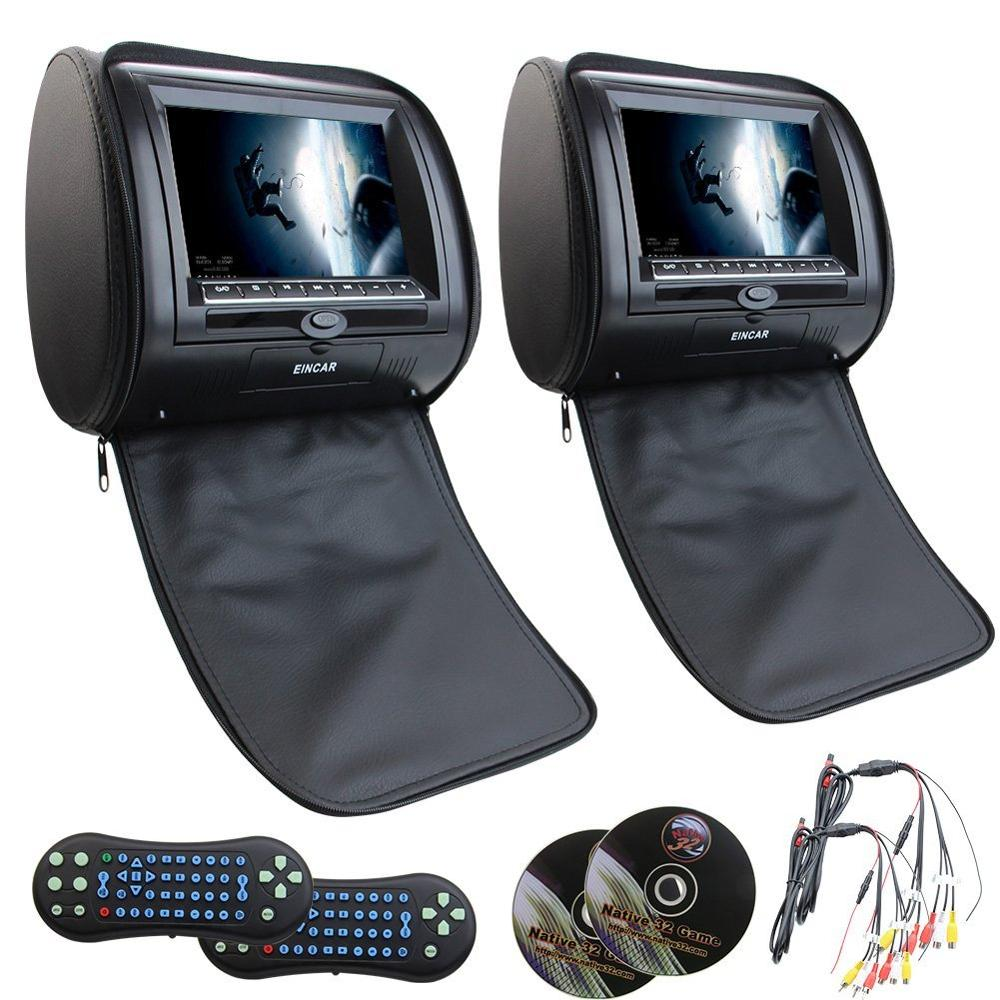 где купить Eincar 2 pcs dvd player Car DVD palyer Headrest Monitor mp3/mp4/dvd/cd SD/USB FM radio IR car seat Headrest monitor video player дешево