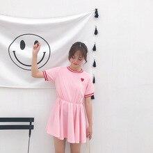 2019 new Japanese Women Harajuku Short Sleeve Sweet Dress Girls Kawaii Love Embroidery Dresses Female Cute