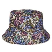 Fashion Summer Harajuku Flat Bucket Hats 3D printed Mexican Skull Outdoor Beach Hat Fishing Hip Hop tartan Cops Women Girls