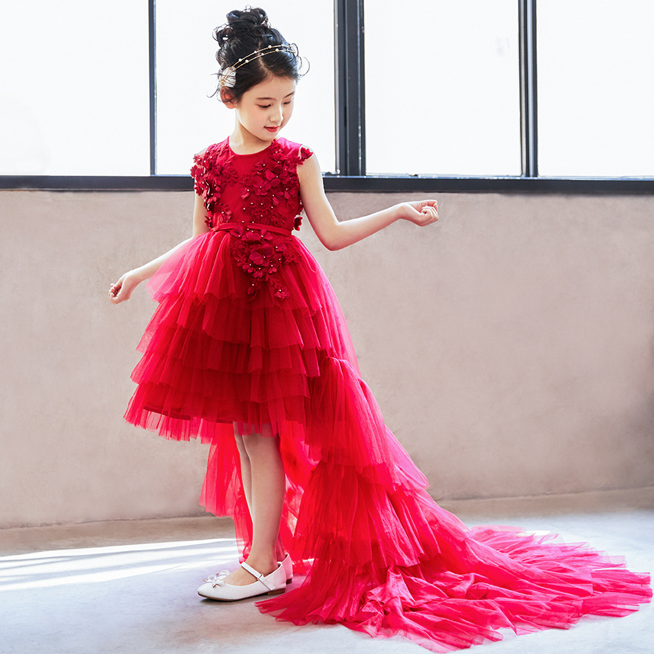 Girl dress 2018 new style girl tail dress wine red detachable children princess dress fluffy dress dress georgede dress