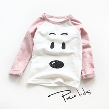 2016 fashion Spring Autumn children t shirts for boys girls long sleeve T-shirts Size 2T-7 child clothings kids tops tees girls plaid blouse 2019 spring autumn turn down collar teenager shirts cotton shirts casual clothes child kids long sleeve 4 13t