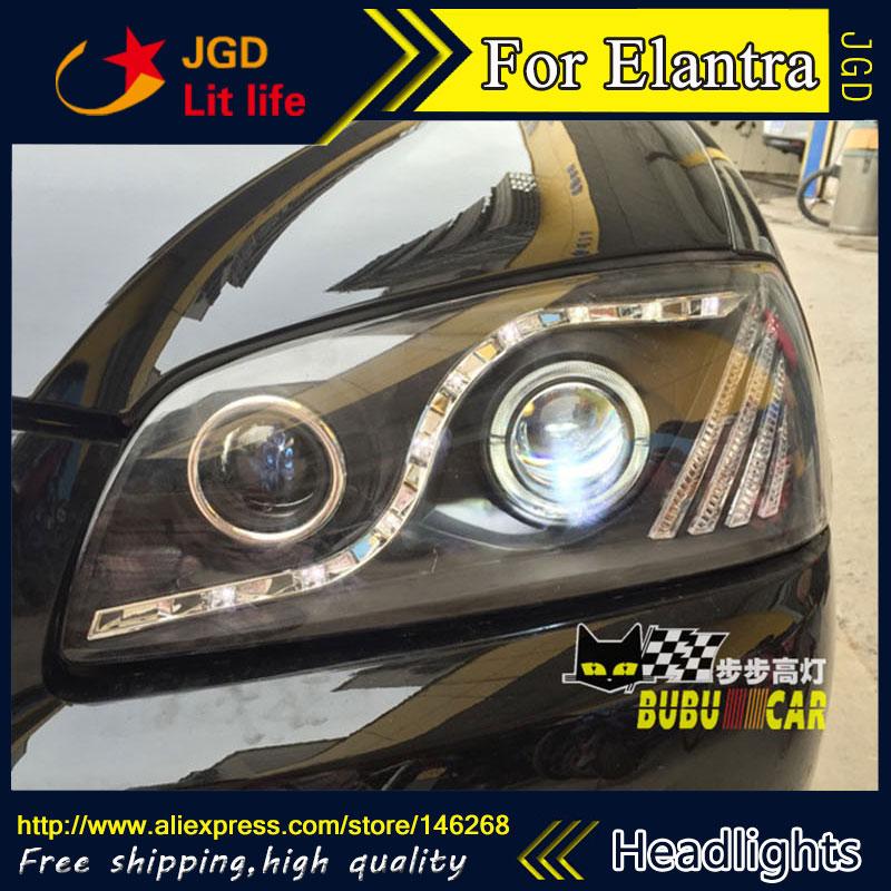Livraison gratuite! Car styling LED HID Rio LED phares Tête Lampe pour Hyundai Elantra 2004-2010 Bi-Lentille Xénon faible faisceau