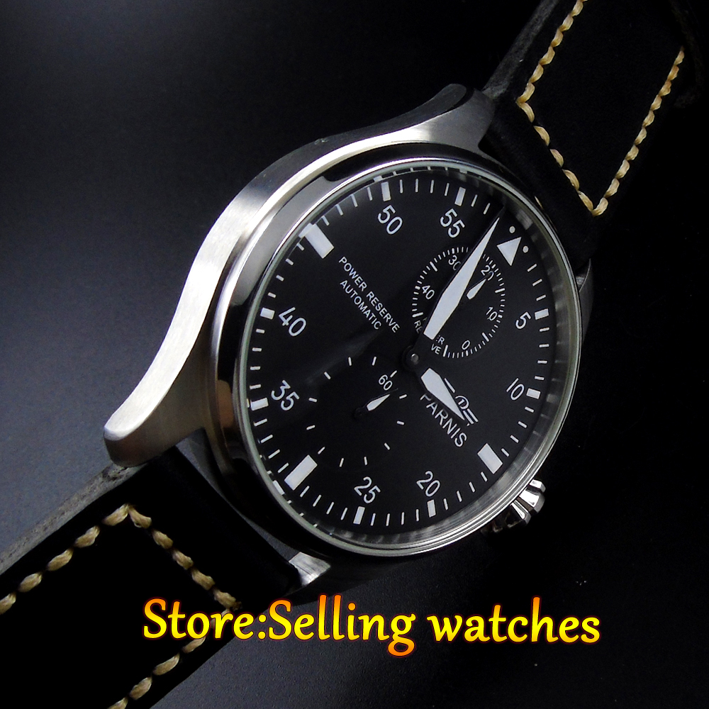 47mm Parnis Power Reserve Black Dial White Numbers Automatic Men's Leather Watch casual 43mm parnis automatic power reserve white dial blue numbers silver watch case business watch men