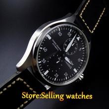 47 мм Парнис Power Reserve Черный Циферблат Белой цифровой Автоматический мужские Кожаные Часы