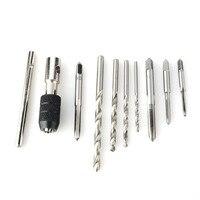 9pc HSS Hand Tap Set M2 Twist Drill Bits T Handle Wrench Hread Reamer M3 M6