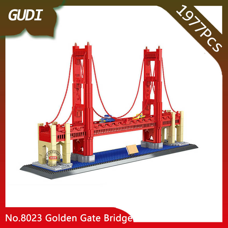 Doinbby Store 8023 1977Pcs Street View Series Golden Gate Bridge Model Building Blocks Set Bricks Children For Toys Wange Gifts