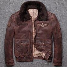 Бесплатная доставка, новинка, зимняя теплая классическая мужская кожаная куртка G1, винтажные куртки из воловьей кожи, Мужское пальто из натуральной кожи