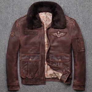 Image 1 - Ücretsiz kargo. marka yeni kış sıcak. klasik G1 stil erkek deri ceket, vintage inek derisi ceketler, erkek hakiki deri ceket.