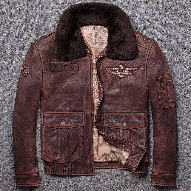 Ücretsiz kargo. marka yeni kış sıcak. klasik G1 stil erkek deri ceket, vintage inek derisi ceketler, erkek hakiki deri ceket.
