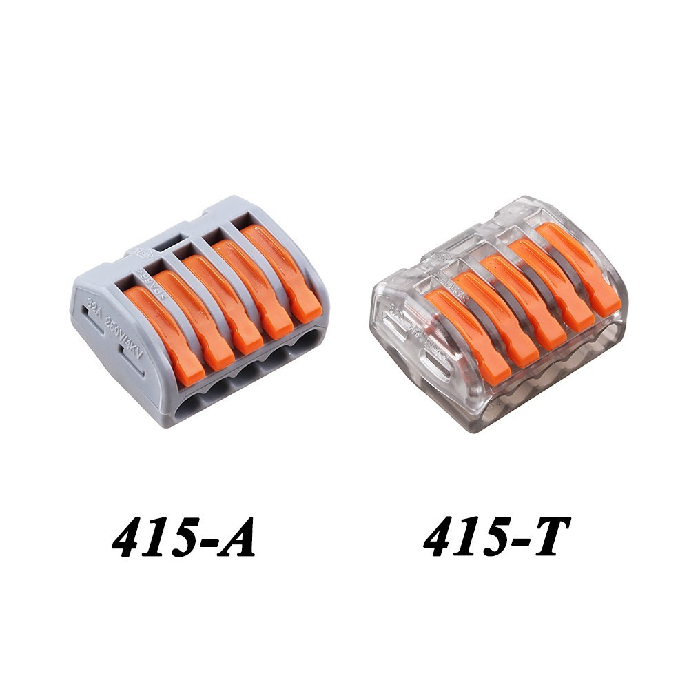 (10pcs/lot) Wago 5Pin Universal Compact 5 Wire Connector Conductor Terminal Block 222-415 PCT-215 type Transparent 10pcs lot 5set t type red soft fast electric wire connecting terminal without breaking line connector non destructive connector