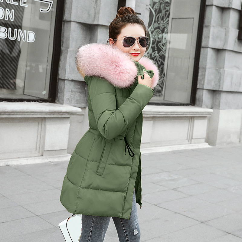 Autumn Winter Warm Outerwear Women Slim Meidum Long Plus Size Padded Jacket And Coats Female Hooded Hats Faux Fur Collar   Parkas